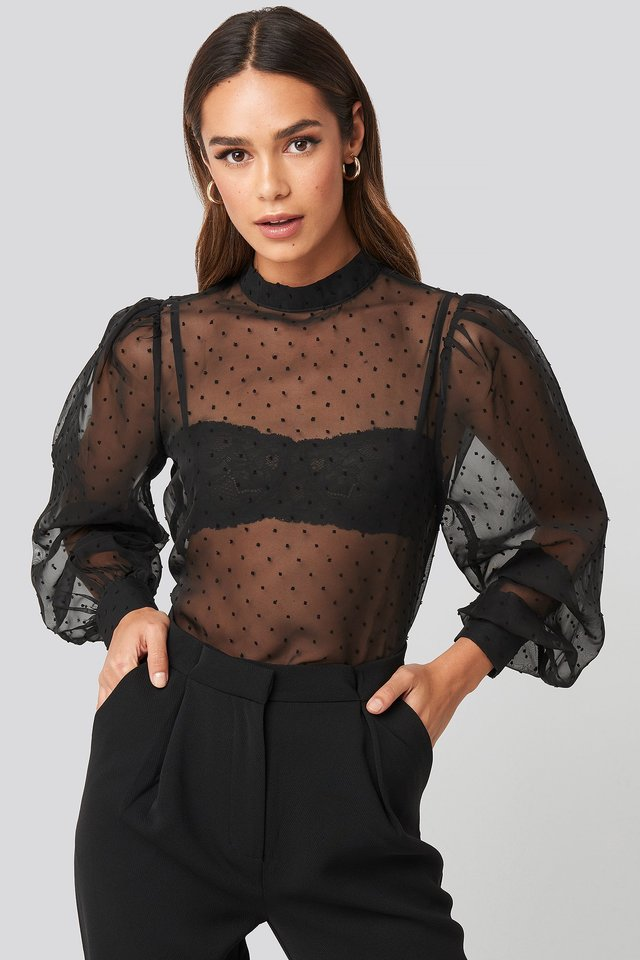 Black High Neck Dobby Blouse