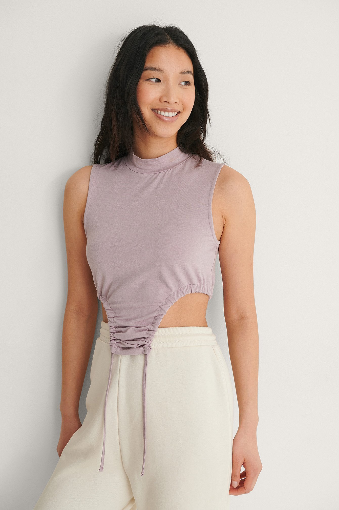 Purple High Neck Drawstring Detail Top