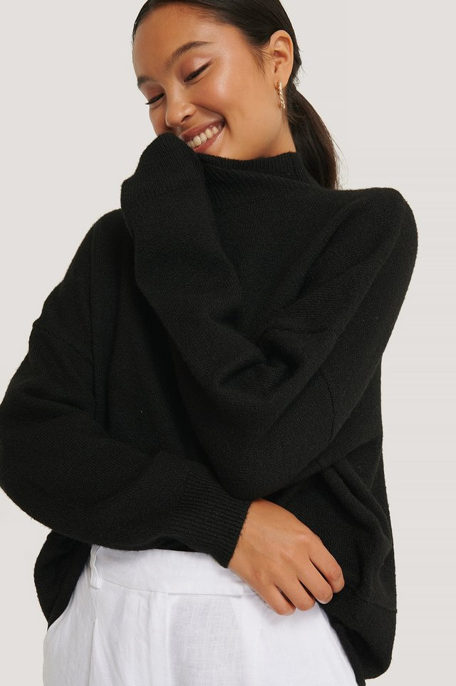 High Neck Dropped Shoulder Knitted Sweater Black