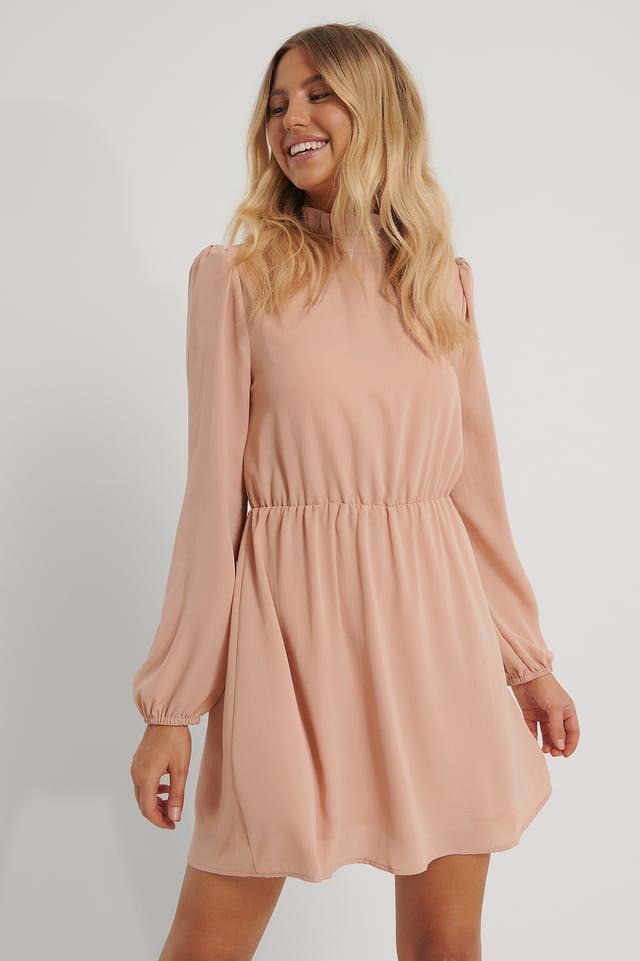 Hochgeschlossenes Minikleid Dark Dusty Pink