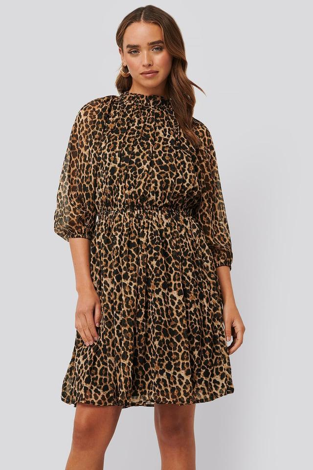 High Neck Elastic Waist Puff Dress Leoprint