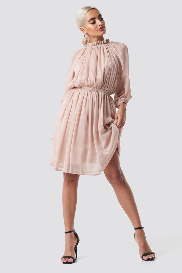 High Neck Elastic Waist Puff Dress Dusty Pink