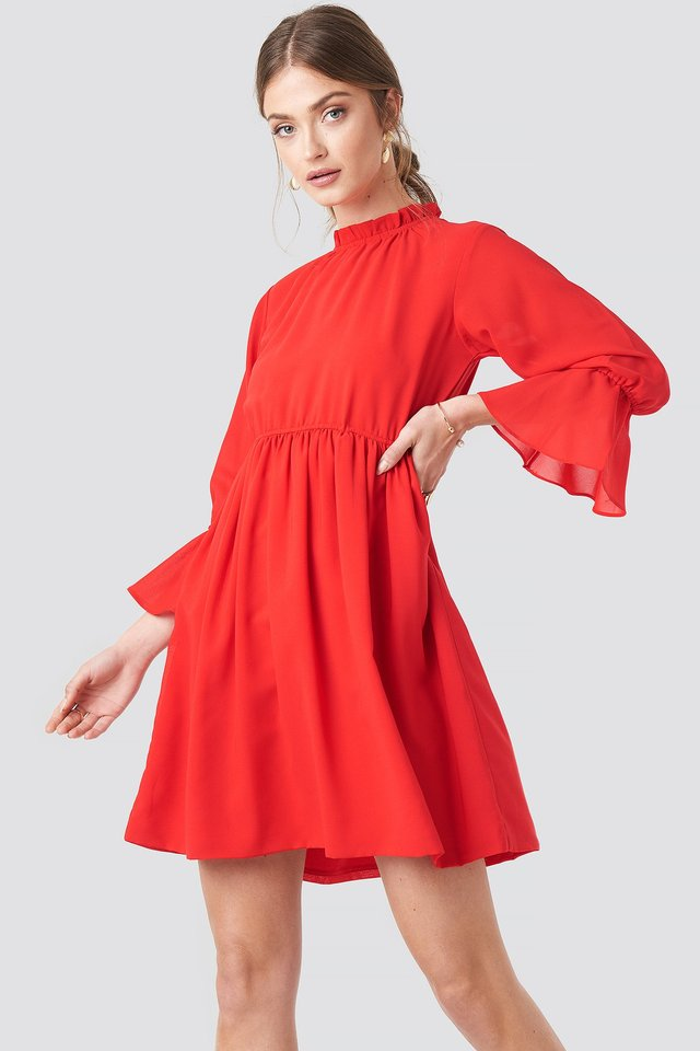 High Neck Flare Mini Dress Red