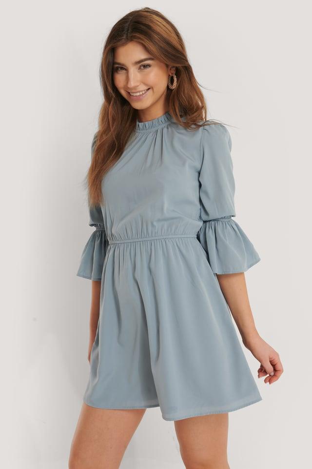 High Neck Flare Mini Dress Dusty Blue