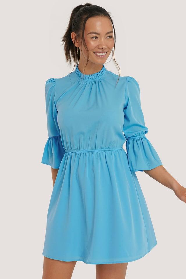 Strong Blue High Neck Flare Mini Dress