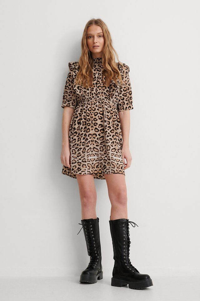 Leopard High Neck Flounce Mini Dress