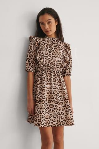 Leopard Minimekko Korkealla Kaula-Aukolla