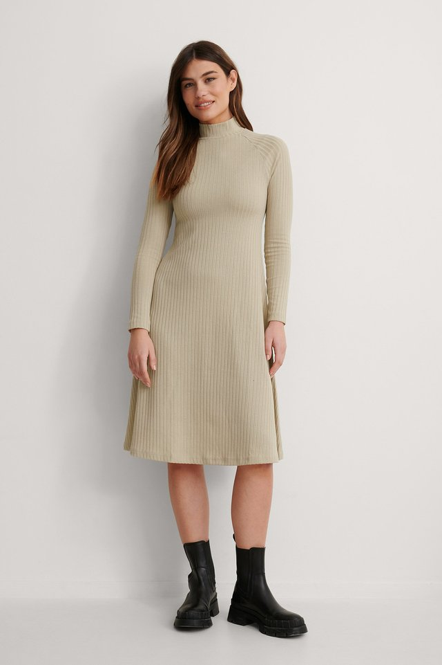Beige Recycled High Neck Flowy Midi Dress