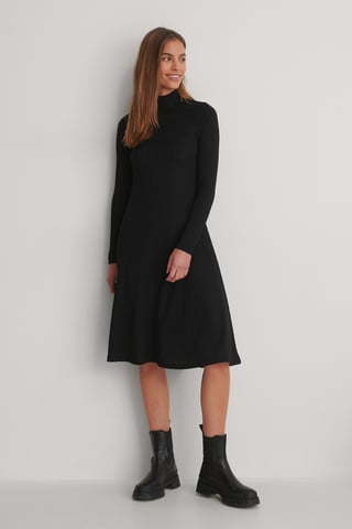 Black Gerecycleerd Midi-jurk