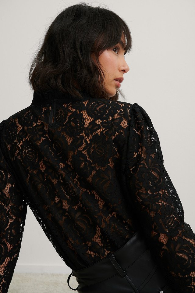 Black High Neck Frill Lace Blouse