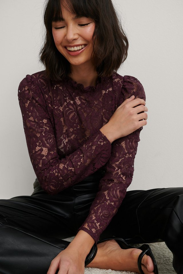 Burgundy High Neck Frill Lace Blouse