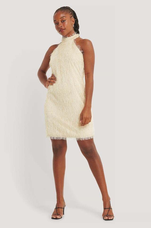 High Neck Fringe Mini Dress Beige
