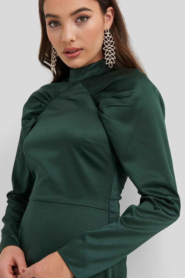 High Neck Gathered Sleeve Dress Dark Green