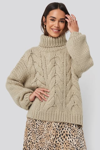 Beige Wool Blend High Neck Heavy Cable Knitted Sweater