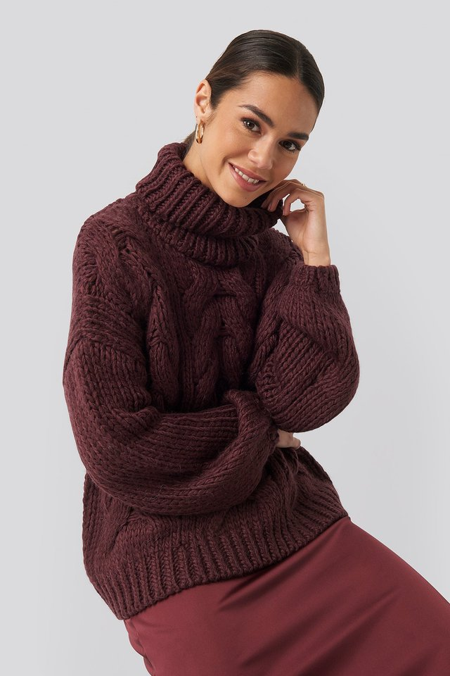 Wool Blend High Neck Heavy Cable Knitted Sweater Plum