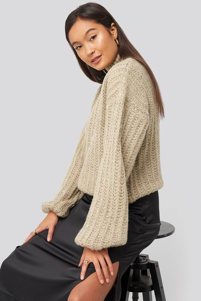 Andrea Badendyck High Neck Heavy Knitted Sweater Beige