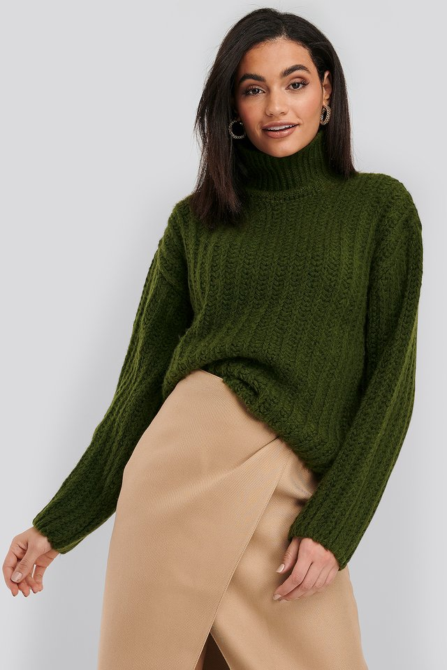 High Neck Heavy Knitted Sweater Dark Green