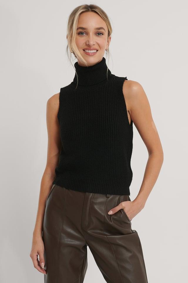 High Neck Knitted Singlet Black