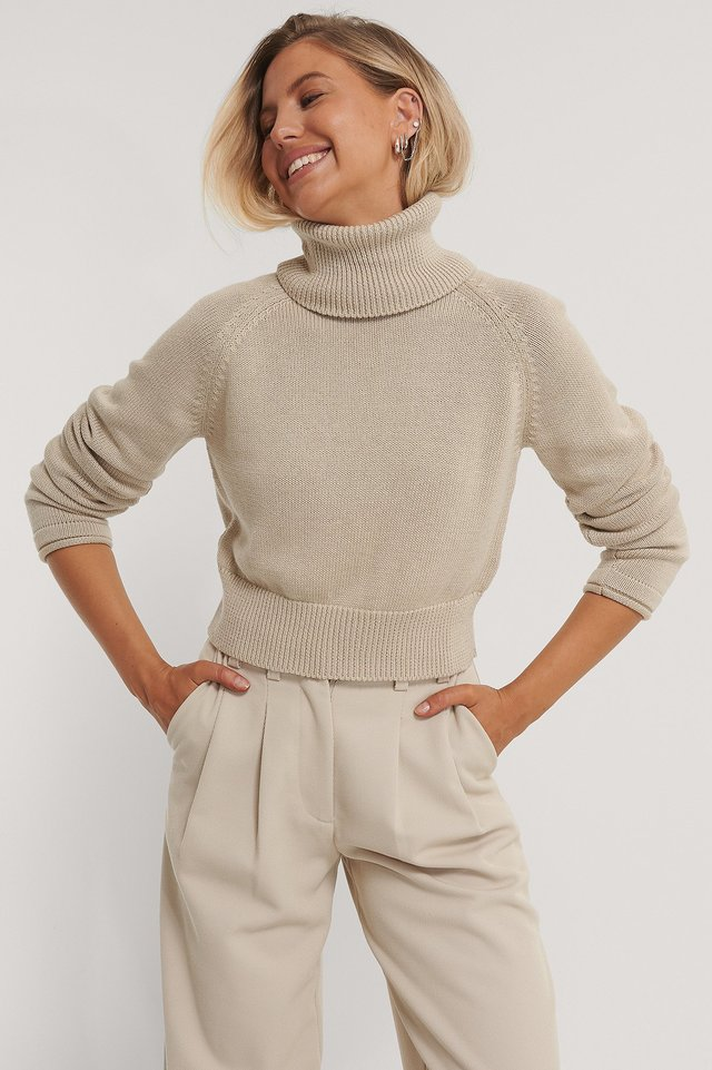 High Neck Knitted Sweater Light Beige