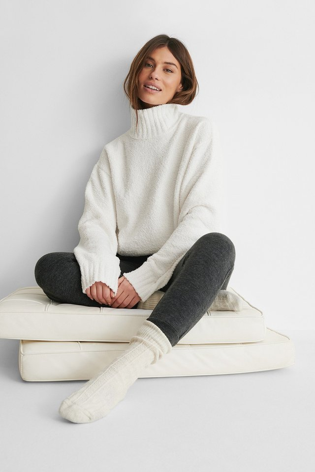 White High Neck Knitted Sweater