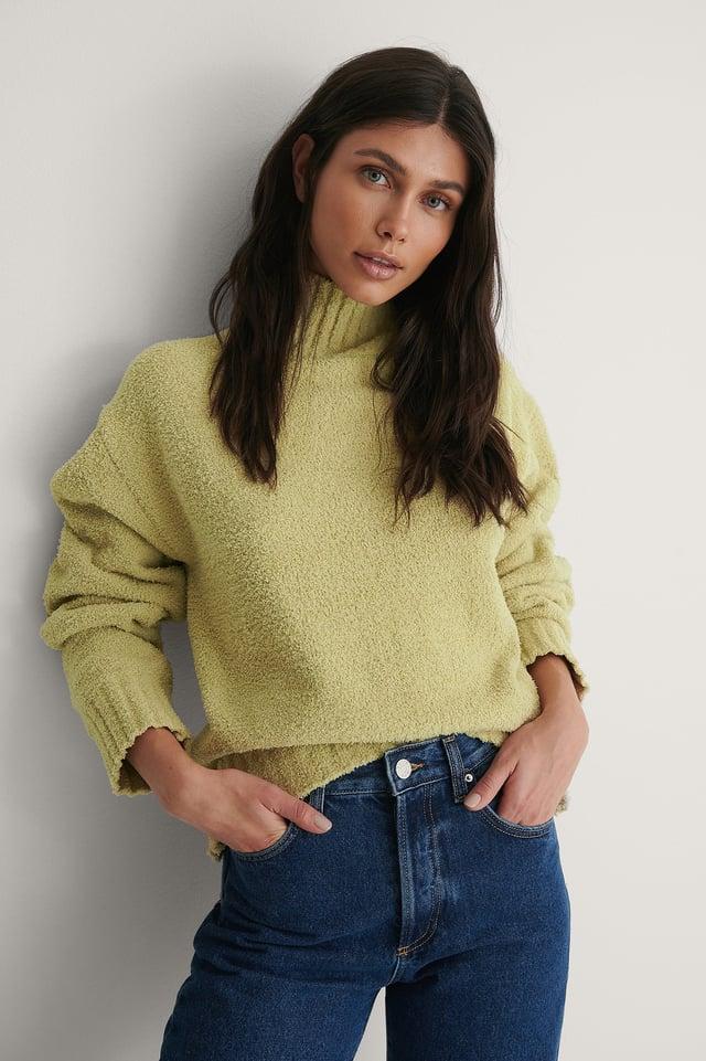 Light Green High Neck Knitted Sweater