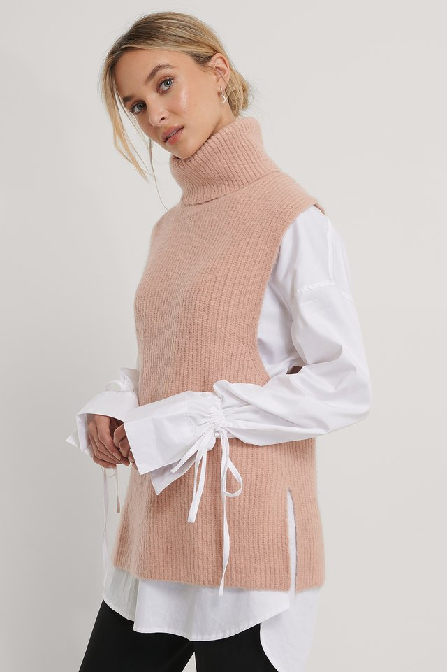 High Neck Knitted Vest Dusty Pink