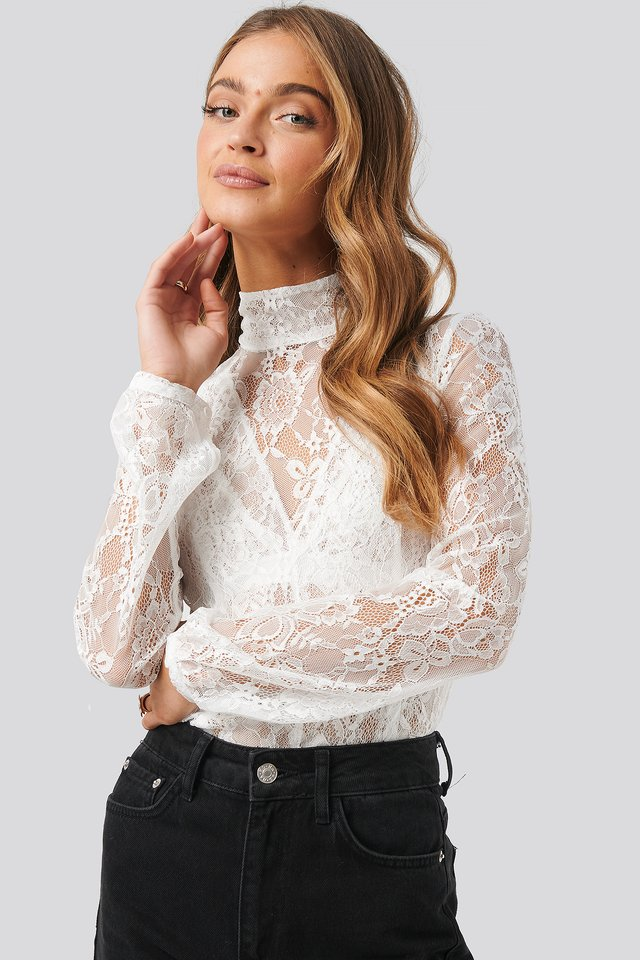 High Neck Lace Top White