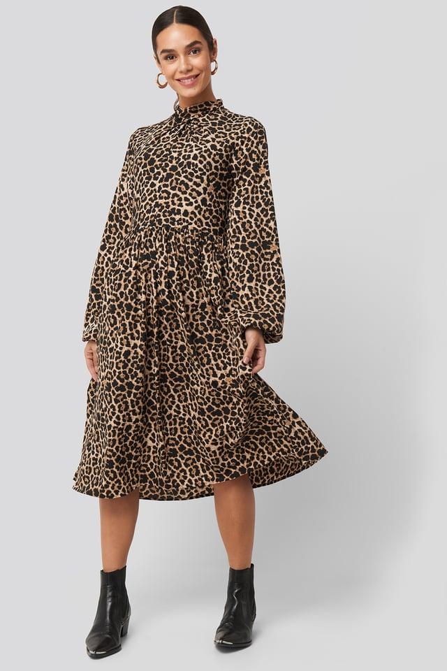 High Neck Leo Dress Leopard