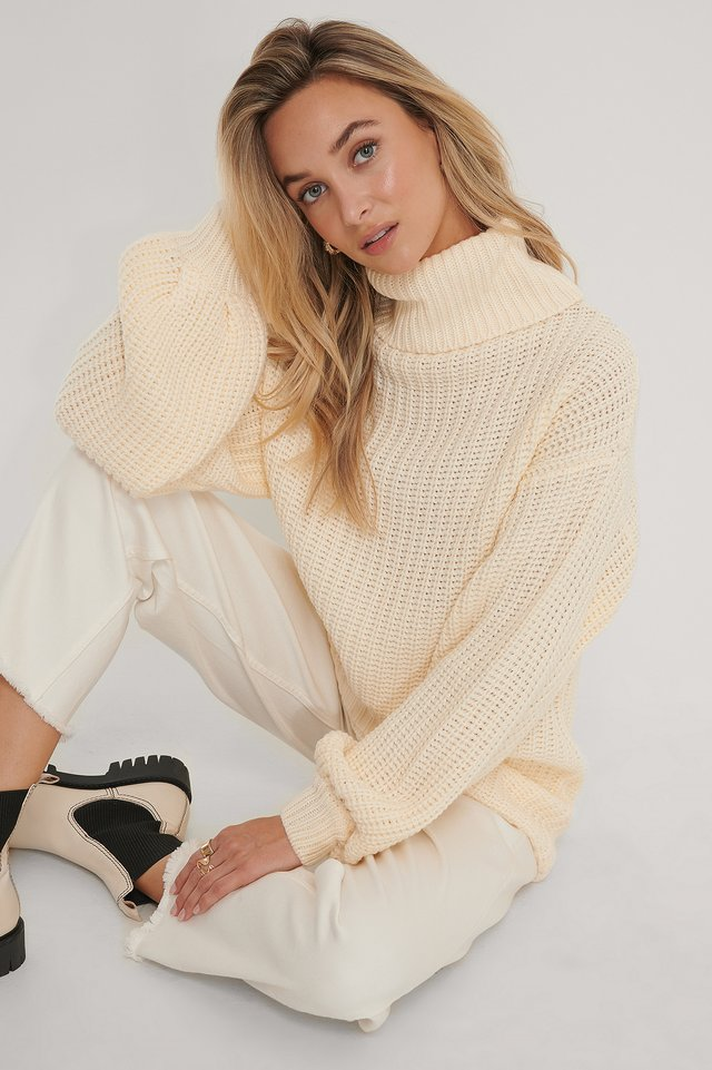Off White High Neck Long Knitted Sweater