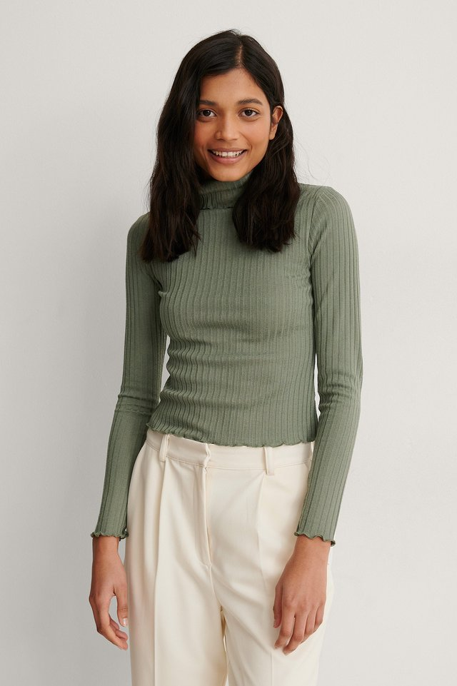 Khaki Recycled High Neck Long Sleeve Top