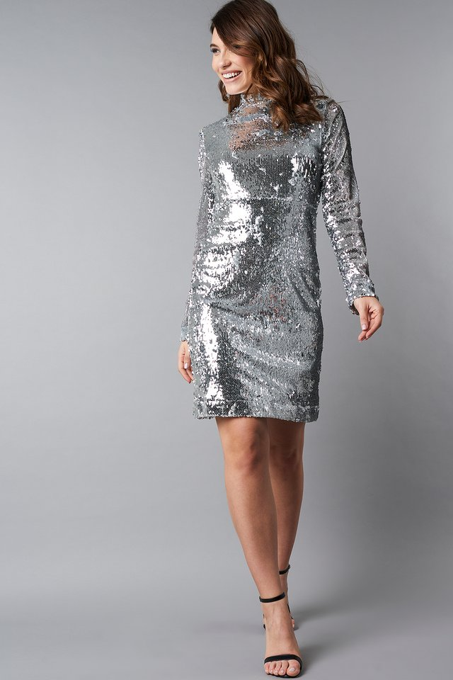 High Neck LS Sequins Dress Silver