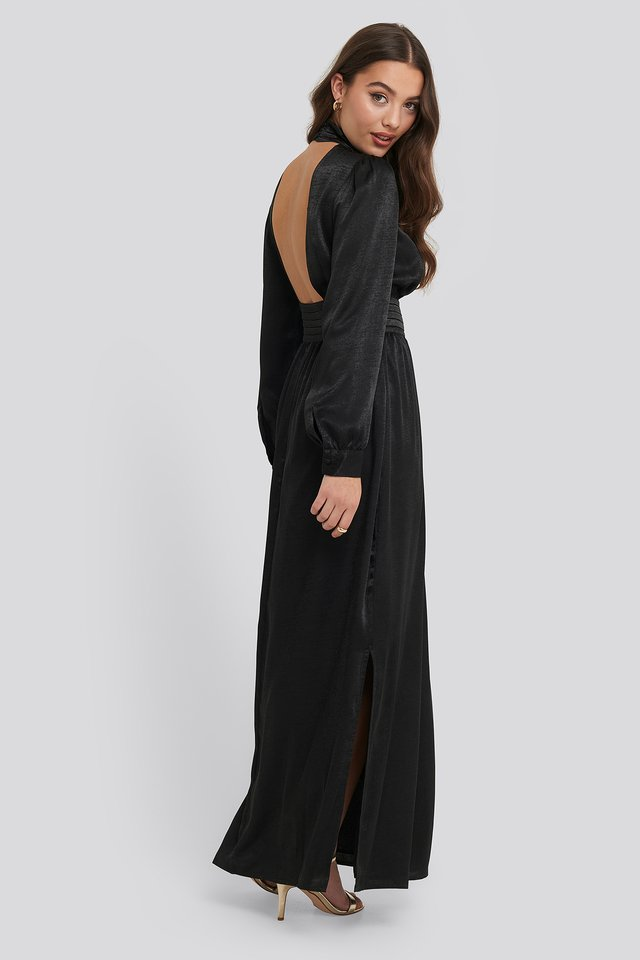 Black High Neck Open Back Maxi Dress