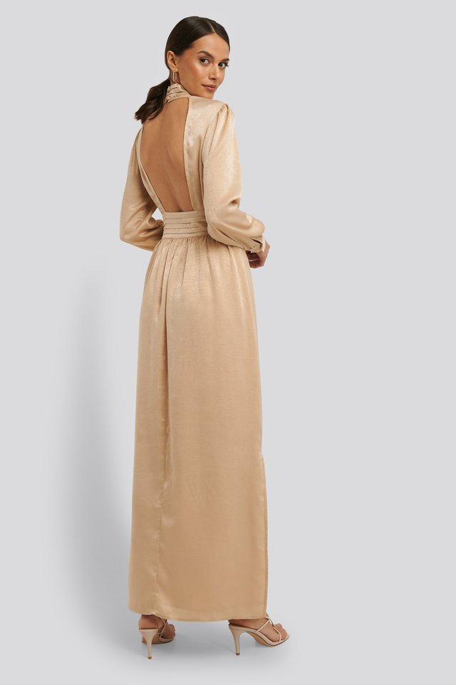 High Neck Open Back Maxi Dress Cream
