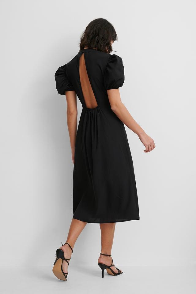 Hochgeschlossenes Kleid Mit Offenem Rücken Black