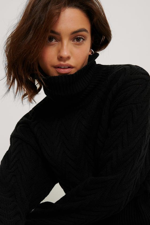 Black High Neck Pattern Knit Sweater