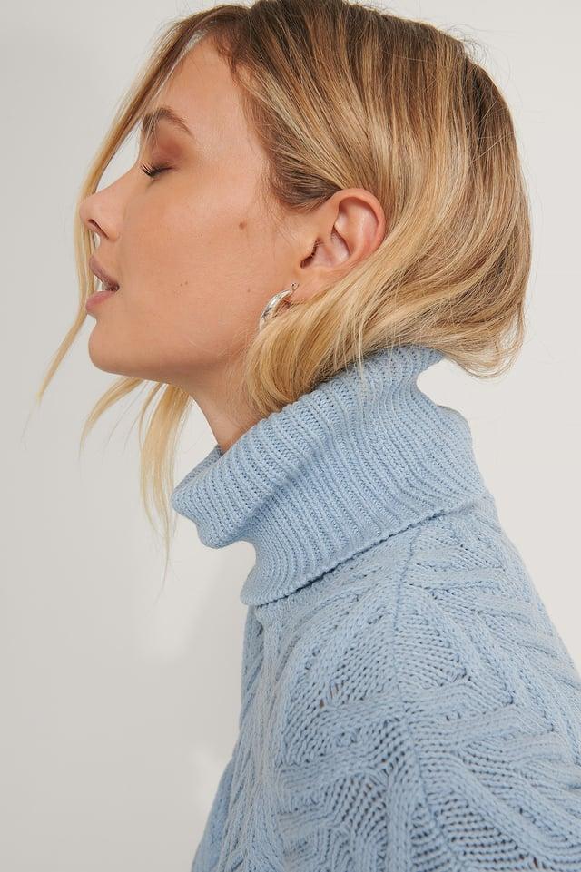 Blue High Neck Pattern Knit Sweater
