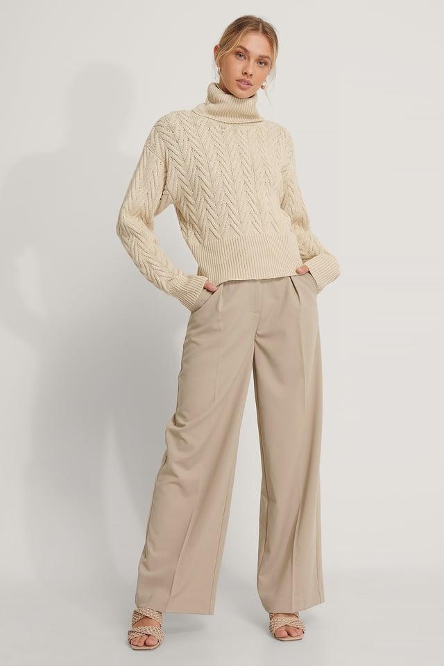 Light Beige High Neck Pattern Knit Sweater