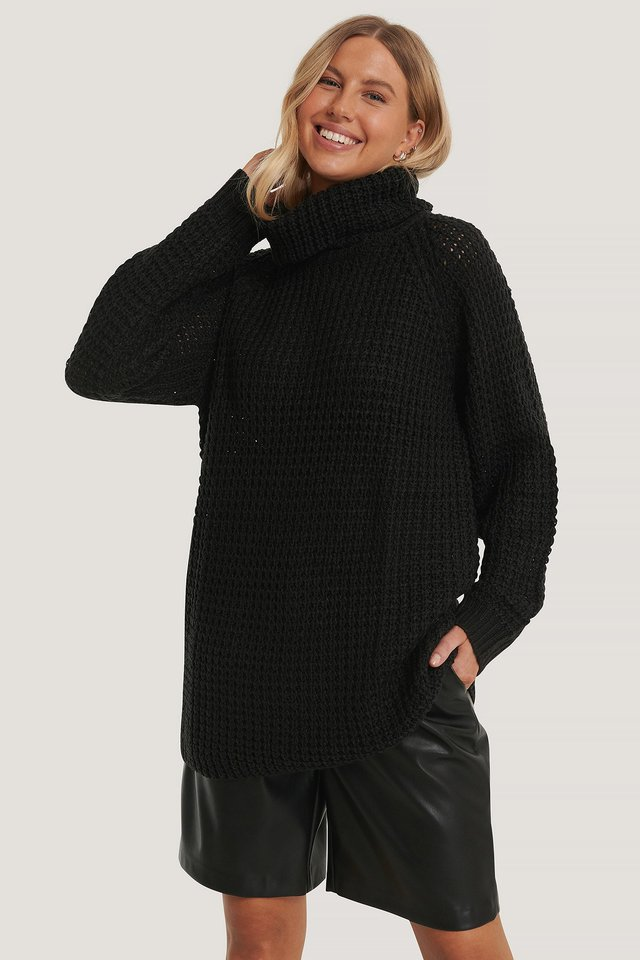 High Neck Pineapple Knitted Sweater Black