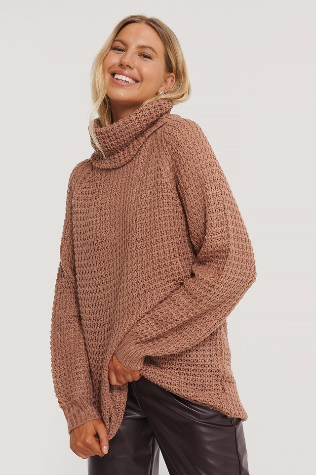 High Neck Pineapple Knitted Sweater Dusty Pink