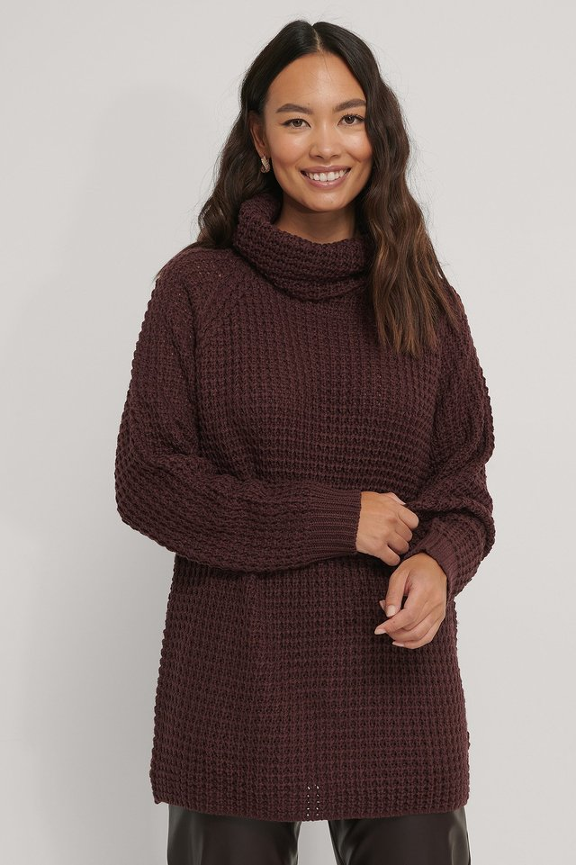 High Neck Pineapple Knitted Sweater Burgundy