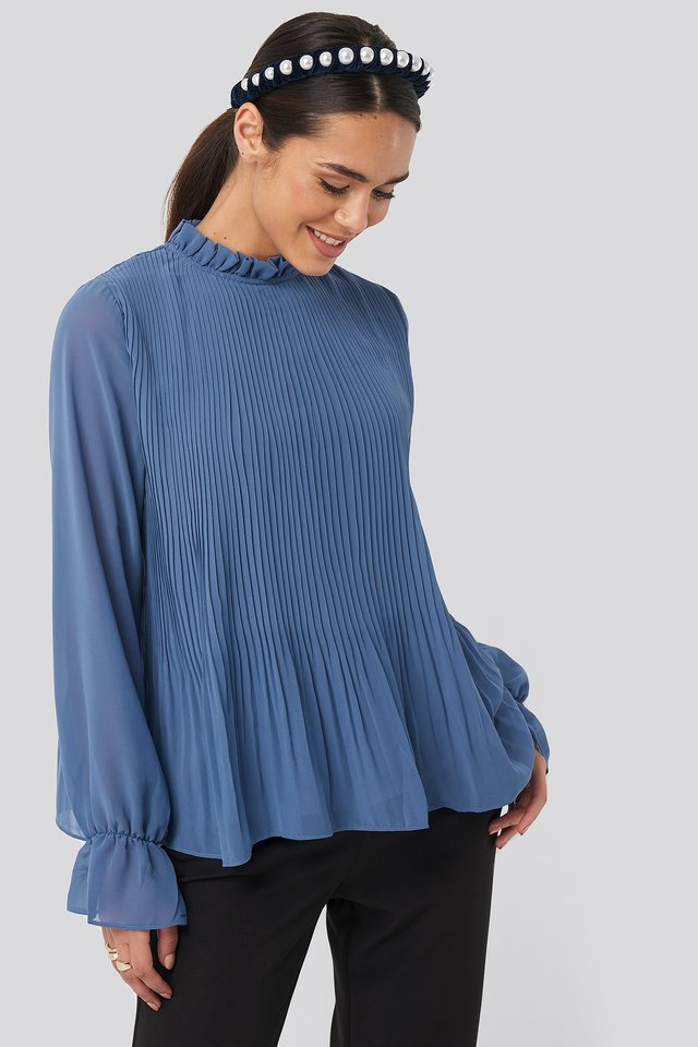 High Neck Pleated Blouse Dusty Blue