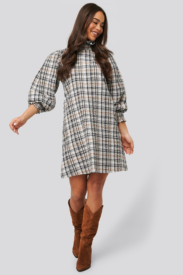 High Neck Puff Sleeve Check Dress Brown
