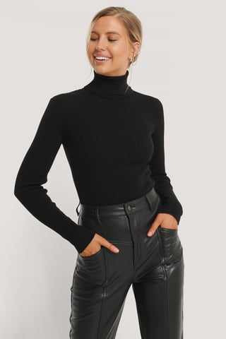 Black High Neck Rib Knit Sweater