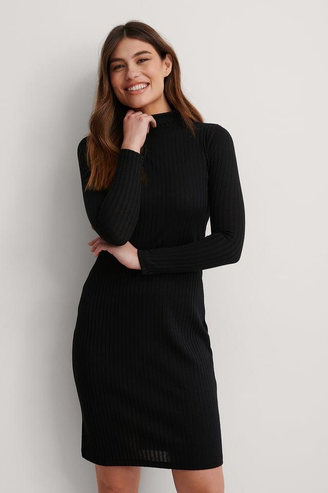 Black Recycled High Neck Rib Midi Dress