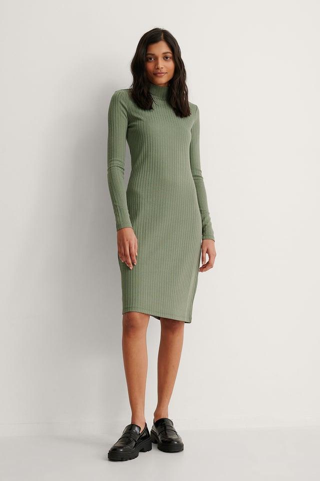 Khaki Recycled High Neck Rib Midi Dress