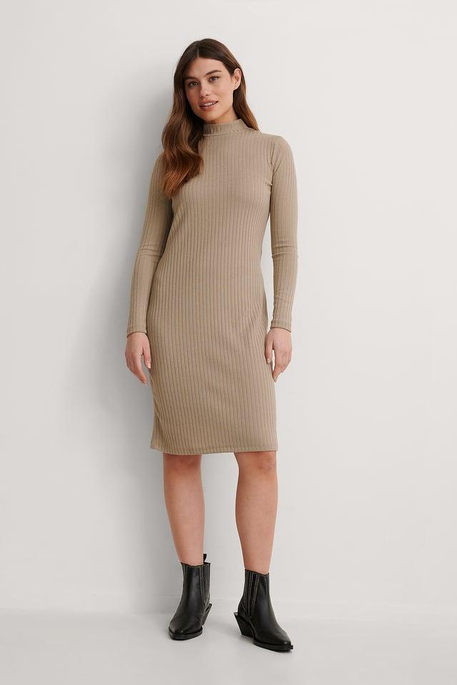 Beige Recycled High Neck Rib Midi Dress