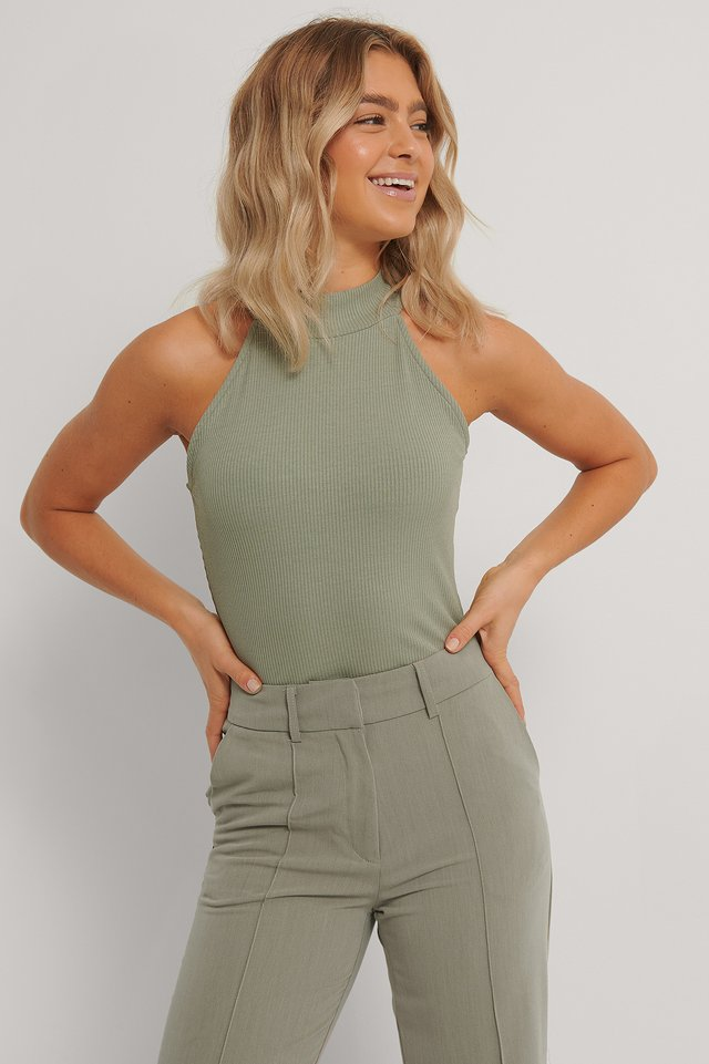 High Neck Rib Top Khaki
