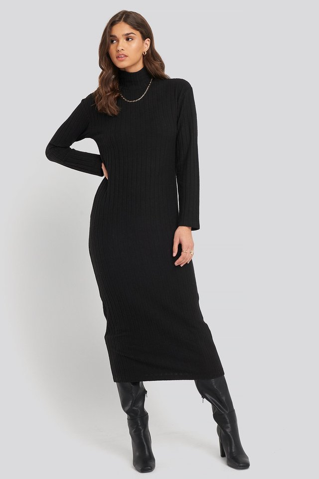High Neck Ribbed Ankle Length Knitted Dress Black