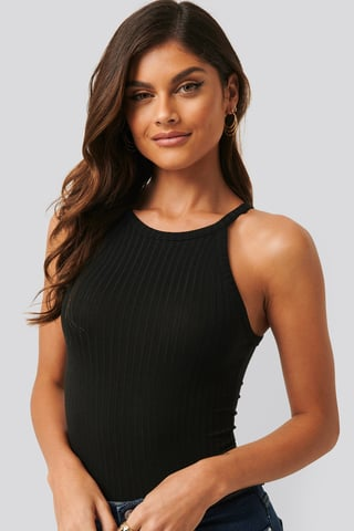 Black High Neck Ribbed Body