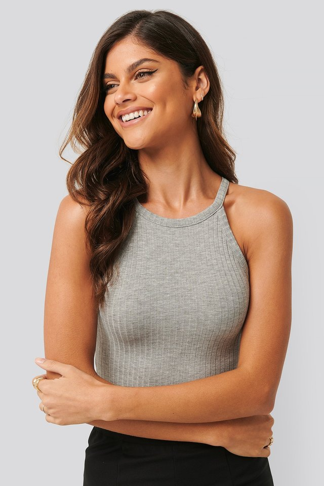 Grey Melange High Neck Ribbed Body